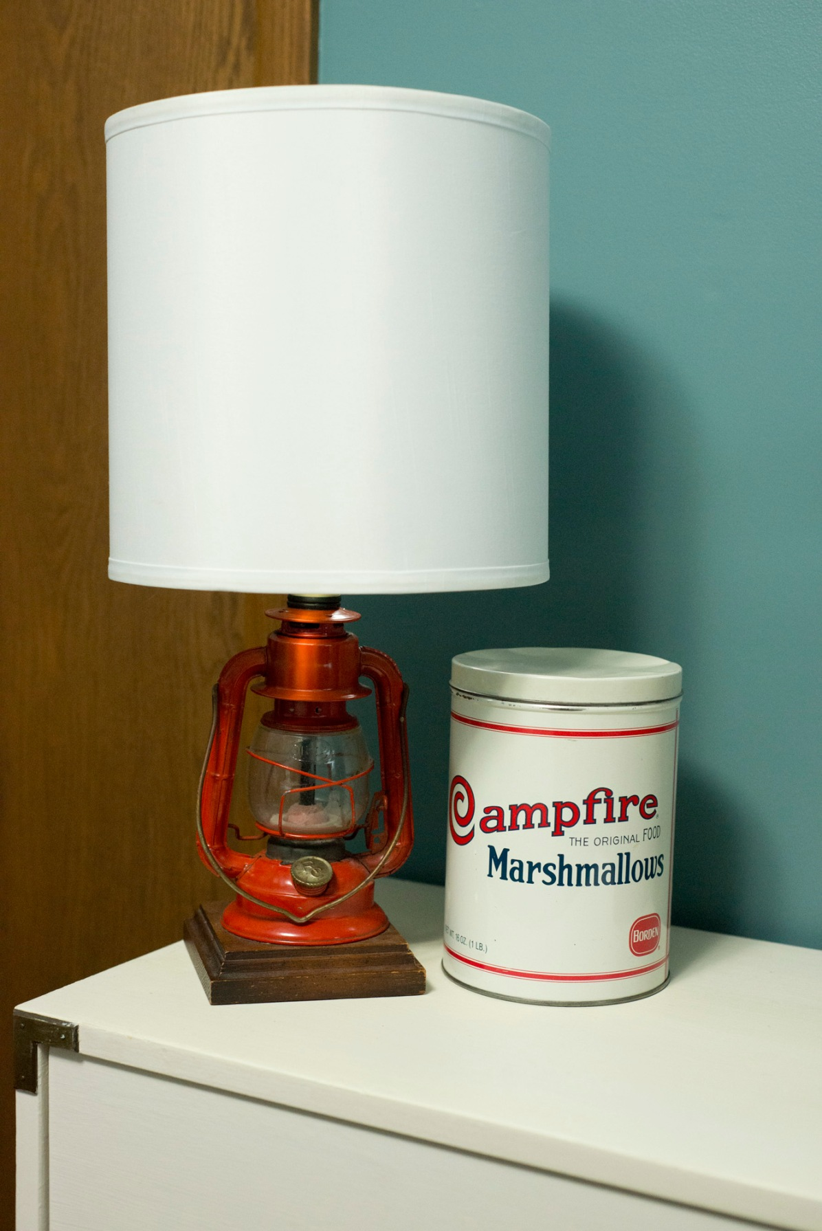 #1 - Vintage lamp & tin for his new toddler room